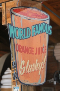 They offer free samples of their world famous orange slushy.